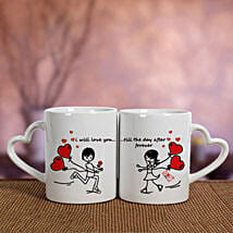 2 Ceramic White Mugs: Valentines Day Gifts to Dhanbad