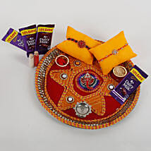 2 Rakhis And Cadbury Chocolates Combo: Send Rakhi Pooja Thali to Gwalior