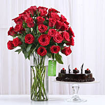 50 Red Roses & Truffle Cake Combo: Flower Bouquet with Cake