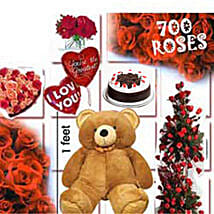 700 Roses Love Special: Flowers & Teddy Bears for Anniversary