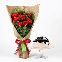 8 Red Carnations & Chocolate Cake: Send Carnations