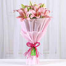 Admirable Pink Asiatic Lilies Bunch: Flower Bouquets for Mother's Day