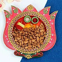 Almonds In Lotus Thali: Bhai Dooj Gifts Srinagar