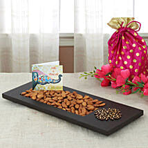 Almonds In Wooden Tray: Bhai Dooj Gifts Srinagar