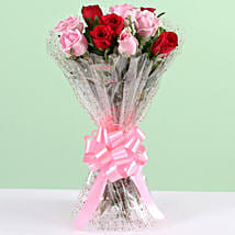 Appealing 10 Red & Pink Roses Bunch: Get Well Soon