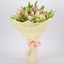 Asiatic Lilies & Carnations Mixed Bouquet: Flower Bouquets