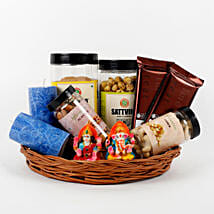Assorted Diwali Goodies Cane Basket: Send Diwali Gifts for Her