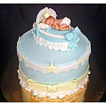 Baby In The Crib Fondant Cake: Designer Cakes Lucknow