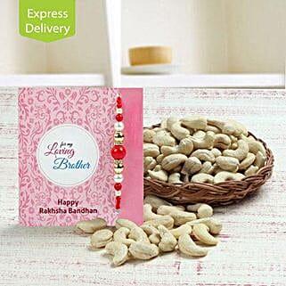 Basket full of cashews: Flowers & Dry Fruits for Raksha Bandhan