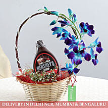 Basket Of Flowers & Chocolate Syrup: Bhai Dooj Gift Hampers