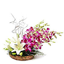Lilies And Orchids Basket Arrangement: Diwali Gifts Bareilly