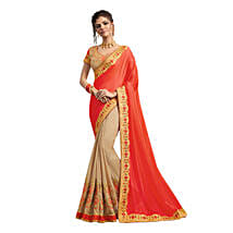 Beige & Orange Georgette Saree: Saree Gifts