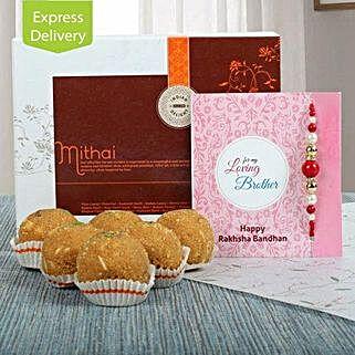 Besan Ladoo N Rakhi: Rakhi With Sweets Bhubaneshwar