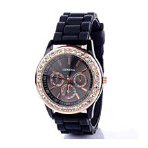 Black Diamante Watch For Women: Accessories for Her