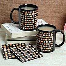 Black Print Coasters With Mugs: Gifts for Boss