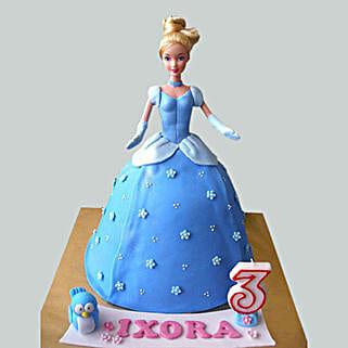 Blue Fondant Barbie Cake: Cartoon Cakes