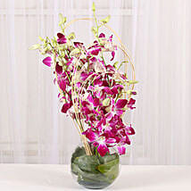 Blue Orchids Vase Arrangement: Lavender Plant Gifts