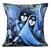 Blue Radha Krishan Cushion: Janmashtami Gifts