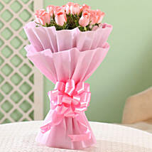 Blushing Love- 15 Pink Roses Bouquet: Womens Day Gifts for Girlfriend