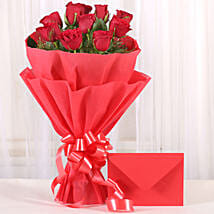 Bouquet N Greeting Card: Send Roses to Faridabad