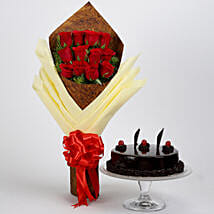 Bouquet of 12 Red Roses & Truffle Cake: Flower Combos