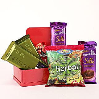 Box of Herbal Gulal & Cadbury Chocolates: Send Holi Chocolates