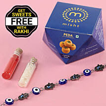Bracelet Evil Eye Rakhi With Free Peda Box: Rakhi to Maheshtala