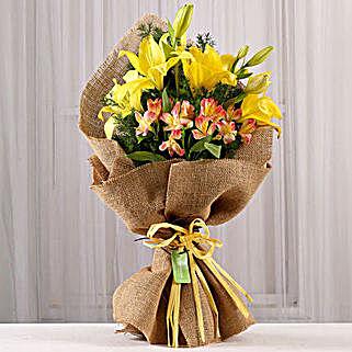 Bright Bouquet of Lilies & Alstroemeria: Premium Flowers