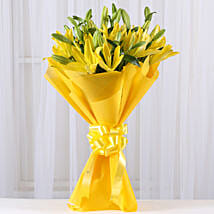 Bright Yellow Asiatic Lilies: Valentine Gifts Mysore