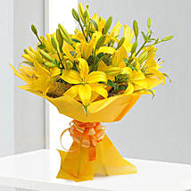 Bright Yellow Asiatic Lilies: Send Valentine Flowers to Udupi