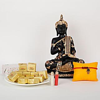 Buddha And Sweets For Rakhi: Rudraksha Rakhi