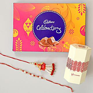 Cadbury Celebrations & Lumba Rakhi Combo: Bhaiya Bhabhi Rakhi Set