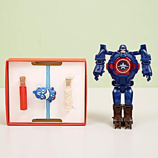 Captain America Transformer Watch & Rakhi Combo: Send Rakhi Best Seller Gifts