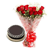 Capturing Heart- Red Roses & Chocolate Cake: Valentine Gifts Hubli-Dharwad