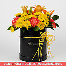 Carnations Chrysanthemums Box Arrangement: