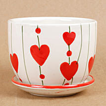 Ceramic Cup & Saucer Vase White & Red: Pots for Plants