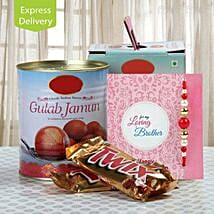 Chocolate And Gulab Jamun Love: Rakhi With Sweets Bestsellers
