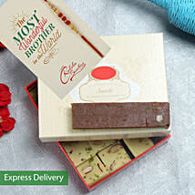 Chocolate Barfi And rakhi hamper: Rakhi With Sweets Jaipur