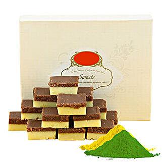 Chocolate Burfi With Gulal: Holi Gifts to Mumbai