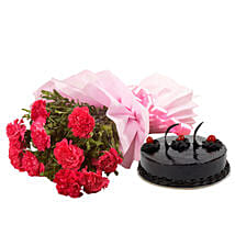 Chocolate Cake N Flowers: Flower Bouquet with Cake