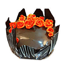 Chocolate Cake With Red Flowers: Cake Delivery in Gorakhpur