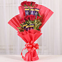 Chocolate Rose Bouquet: New Year Flowers & Chocolates