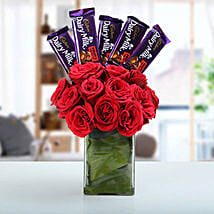 Classic Choco Flower Arrangement: Christmas Flowers & Chocolates