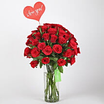 Classic Red Roses in Glass Vase: Valentines Day Roses