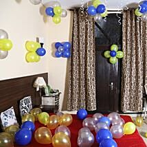 Colorful Balloons Decor Silver Yellow & Blue: Balloon