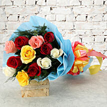 Colourful Mixed Roses Bouquet: Valentine Flowers Nashik