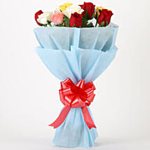Colourful Mixed Roses Bouquet: Valentine Flowers Haldwani