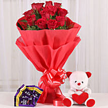 Cuddly & Chocolatey Affair- 12 Red Roses: Flowers & Teddy Bears - Friendship Day