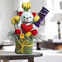 Cute Teddy Surprise: Send Friendship Day Chocolates