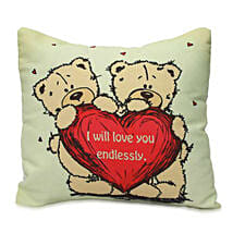 Cute Teddy With Message Cushion: Women's Day Gifts for Wife